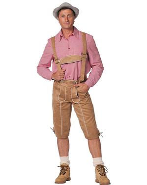 Pánské kožené kalhoty béžové