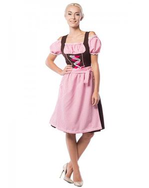 Dirndl Oktoberfest marrone e rosa da donna taglie forti