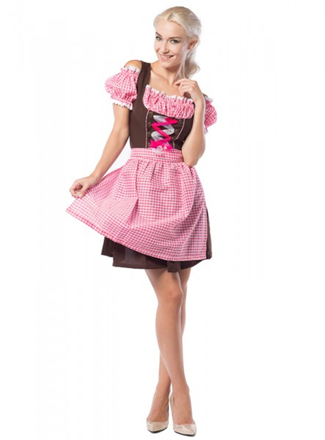 Plus Size Oktoberfest Dirndl for Women in Brown & Pink