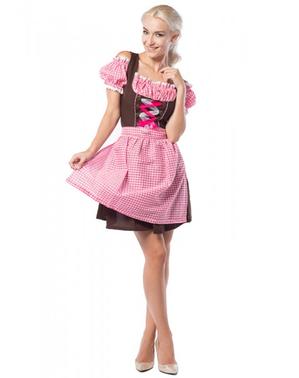 Dirndl de Oktoberfest cor-de-rosa e castanho para mulher tamanho grande