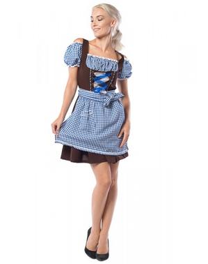 Dirndl Oktoberfest azul e castanho para mulher tamanho grande