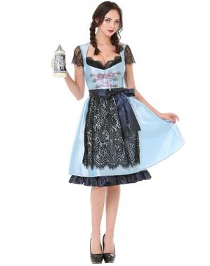 Dirndl Oktoberfest azul e preto para mulher