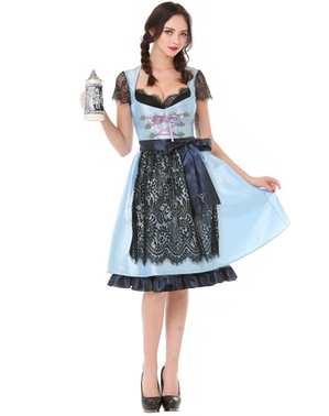 Dirndl Oktoberfest bleu et noir femme