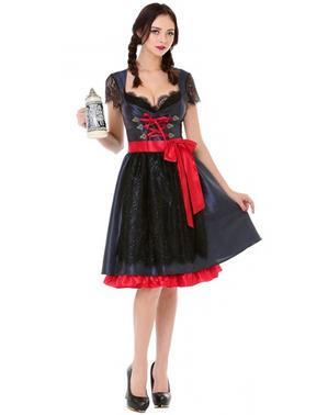 Dirndl Oktoberfest rosso e nero elegante da donna