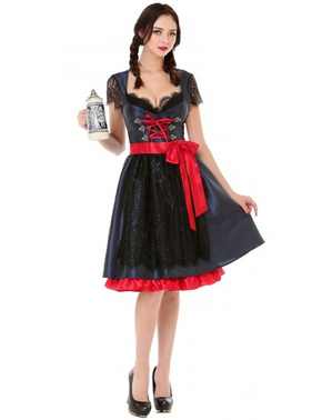 Oktoberfest Elegant Dirndl for Women in Black & Red