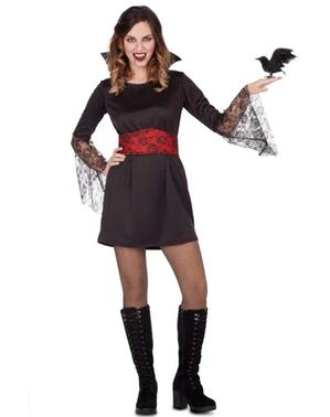 Vampyrinna maskeraddräkt svart och röd för henne