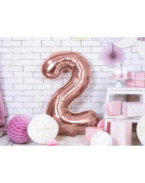 «2» Фольга куля з рожевого золота (86 см)