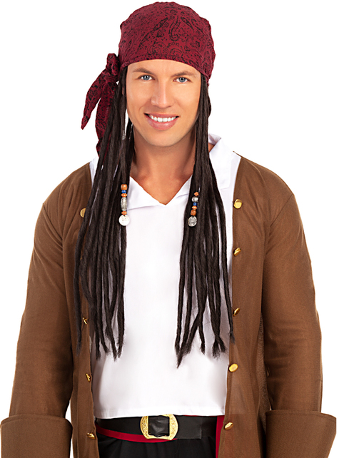 Pirate wig with scarf - funny