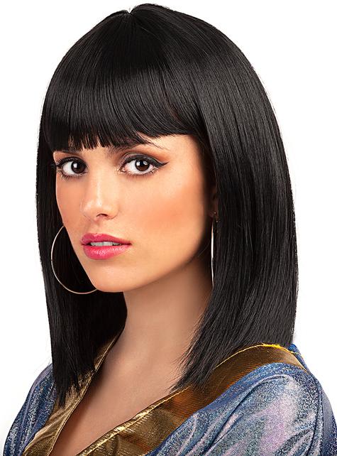 Perruque noire courte à frange - pour votre déguisement