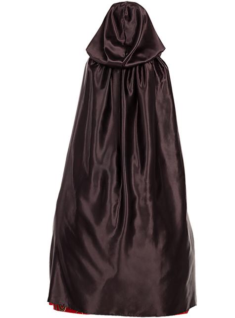 Cape à capuche en satin noir - pour votre déguisement