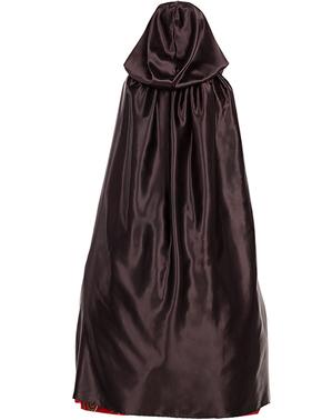 Mantello nero di raso con cappuccio