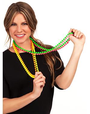 Halsband med neonfärgade pärlor