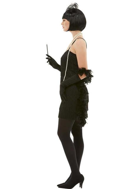 Fato de charleston anos 20 preto para mulher tamanho grande