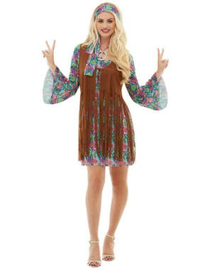 Hippie plus size kostyme til Dame
