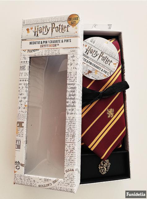 Luxusní sada kravaty a brože Nebelvír - Harry Potter