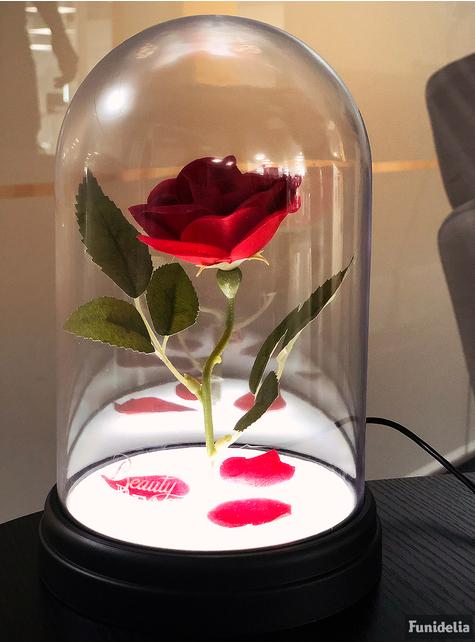 Rose enchantée de la Belle et la Bête en vitrine lumineuse