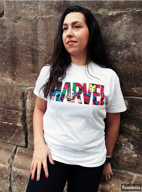 Camiseta de Marvel Comics Blanca con Logo y Personajes