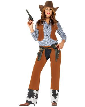 Eventyrlysten cowgirl kostume til kvinder