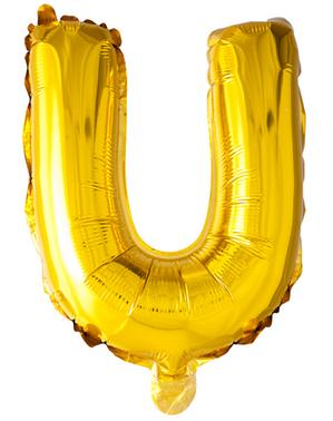 Globo foil letra U dorado (102 cm)