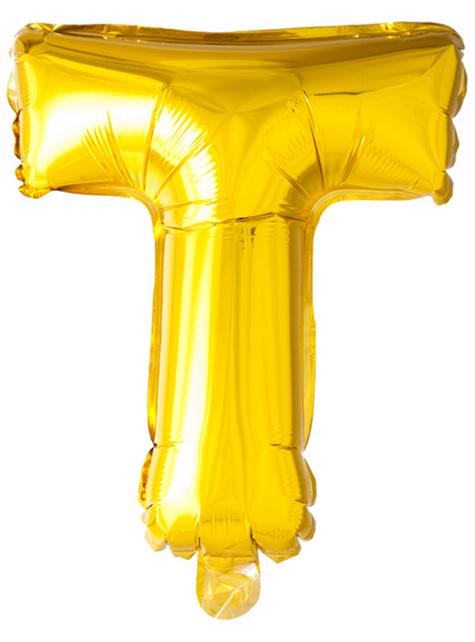Globo foil letra T dorado (102 cm)