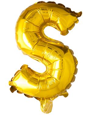 Globo foil letra S dorado (102 cm)