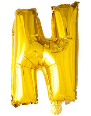 Globo foil letra N dorado (102 cm)