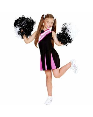 Disfraz de animadora negro y rosa para niña