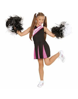 Cheerleader Kostüm schwarz rosa für Mädchen