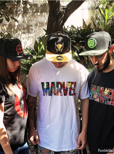 T-shirt Logo Marvel colorido para homem