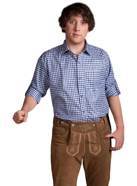 Camisa tirolesa azul para hombre