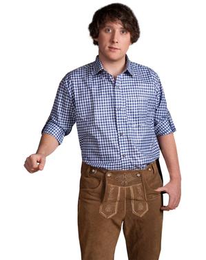 Camisa aos quadrados azul e branca para adulto