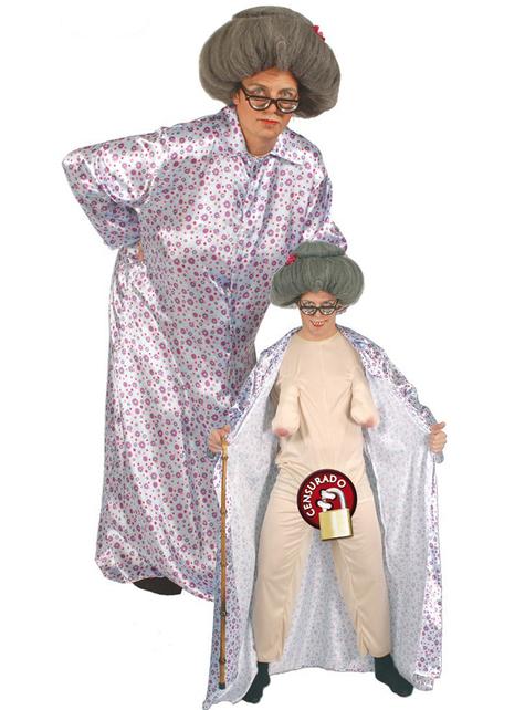 Disfraz de abuela exhibicionista para hombre