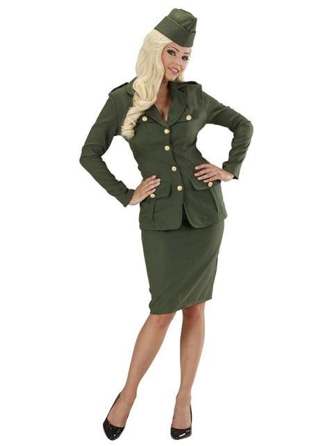 Disfraz de soldado de la Segunda Guerra Mundial verde para mujer