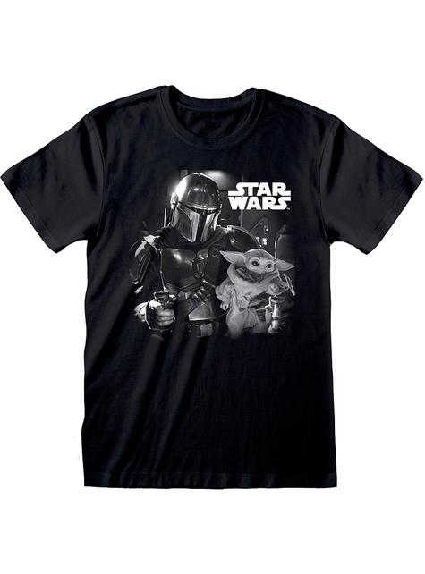 Baby Yoda T shirt til mænd i sort The Mandalorian Star Wars