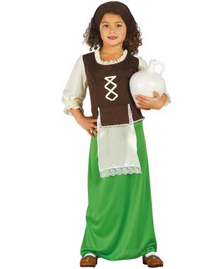 Costume da locandiera verde da bambina