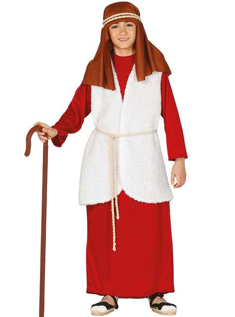 Disfraz de pastor hebreo rojo para niño