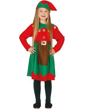 Disfraz de elfa de Navidad para niña