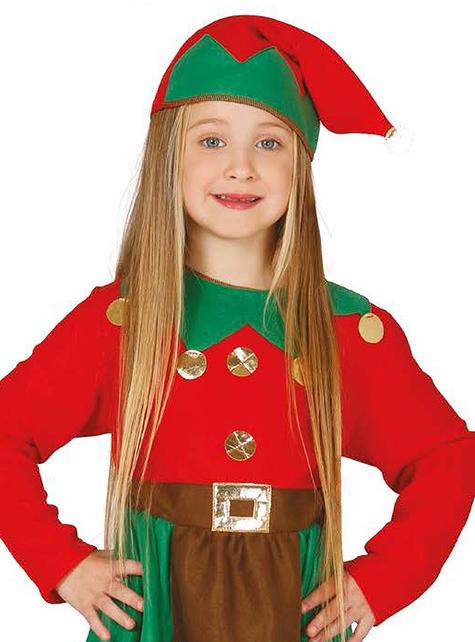 Fato de elfo trabalhador vermelho para menina