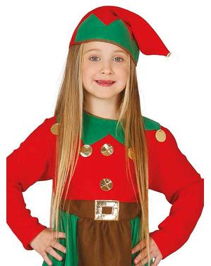 Dievčenský kostým Santov pomocník (červený)