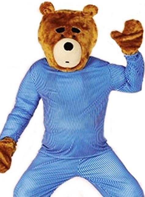 Kit de pieza para la cabeza y manos de oso travieso para adulto