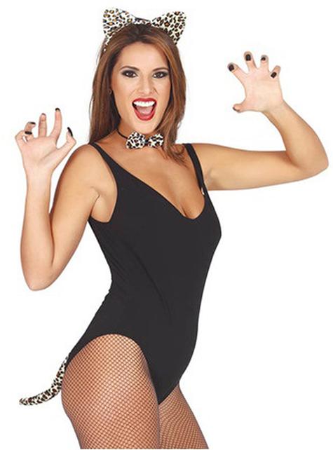 Conjunto de leopardo gulosa para mulher