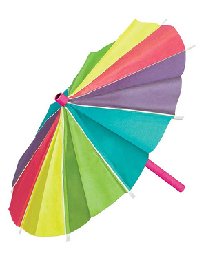 3 colourful paper parasols