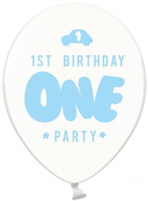 6 בלונים חזקים במיוחד ליום ההולדת ראשונה בכחול פסטל (30 סנטימטרים)
