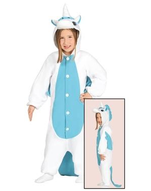 Fato de unicórnio azul onesie infantil