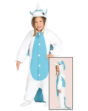 Maskeraddräkt enhörning blå onesie för barn