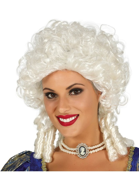 Peluca de marquesa barroca blanca para mujer