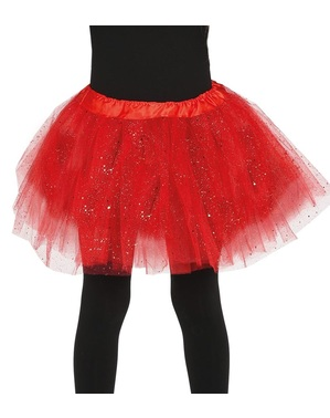 Dívčí tutu sukně se třpytkami červená