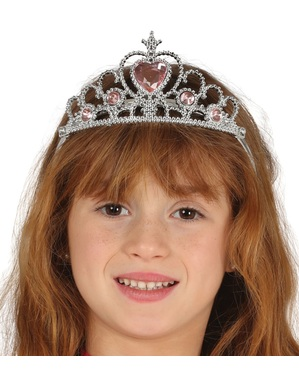 Silberfarbene Prinzessinenkrone für Mädchen