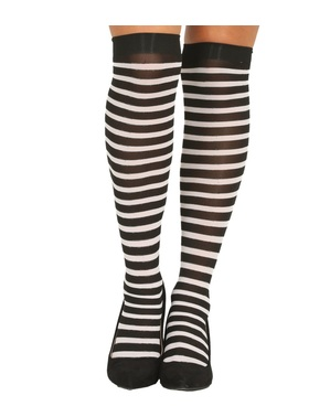 Black and white striped witch tights for women