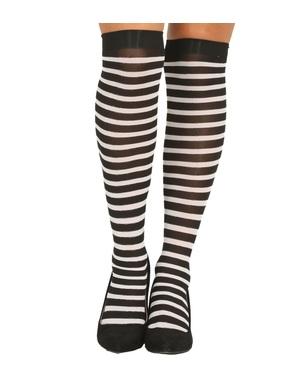 Meias-calças de bruxa de riscas pretas e brancas para mulher